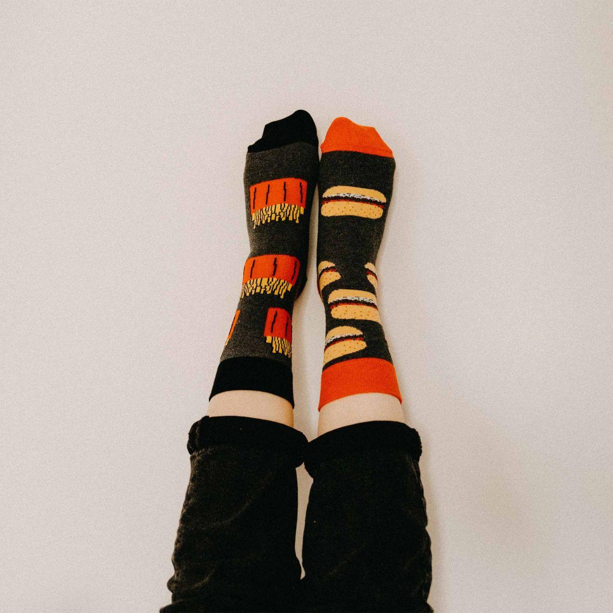 Ponožky - Hamburger + hranolky - 2 páry v darčekovej krabičke p5