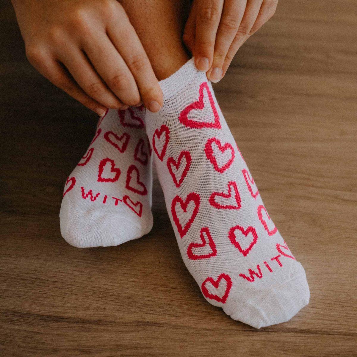 Socken - Herz - weiß p3