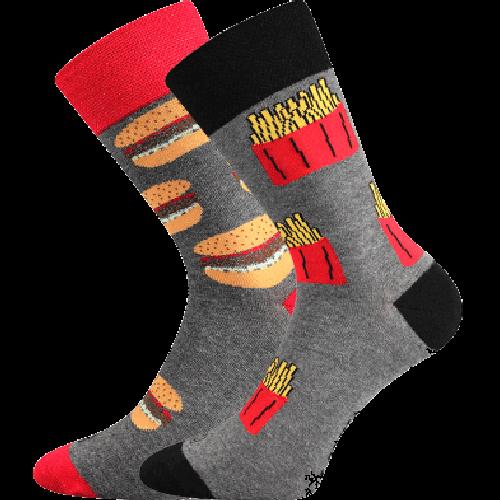 Ponožky - Hamburger + hranolky - 2 páry v darčekovej krabičke p6