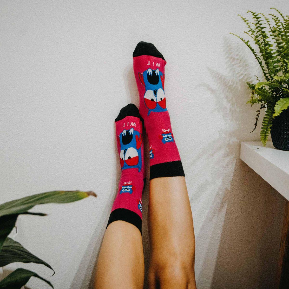 Ponožky - Sova magenta p1