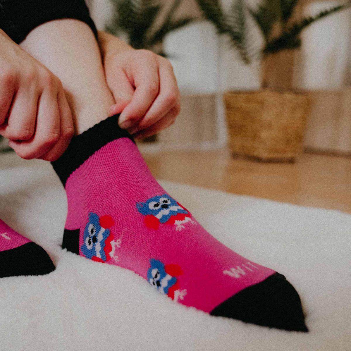 Ponožky - Sova magenta - nízke p2