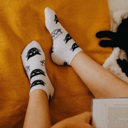 Socken - Katzen - weiß - niedrig p3