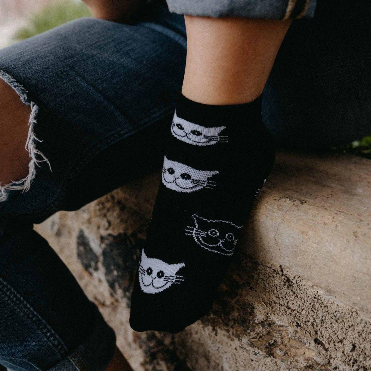 Ponožky - Mačky čierne - nízke p3