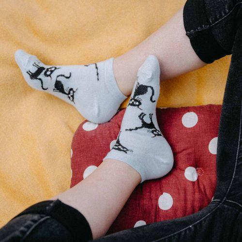 Ponožky - Kočka světle modré nízké p2