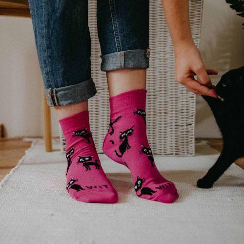 Ponožky - Kočka magenta p2