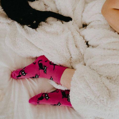 Ponožky - Kočka magenta p3