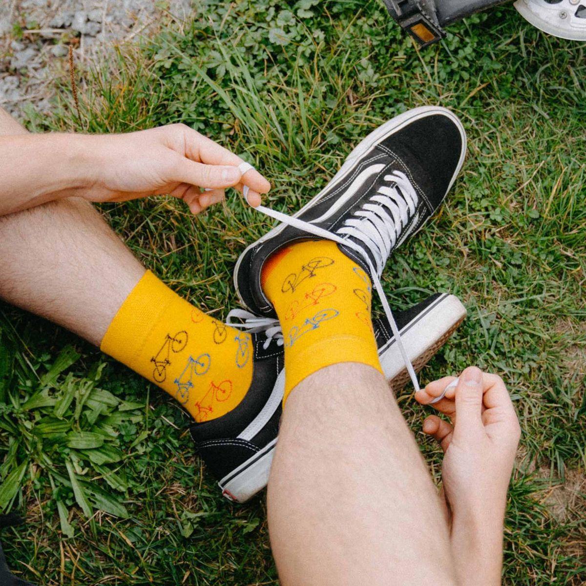 Ponožky - Bicykel - žltá p3