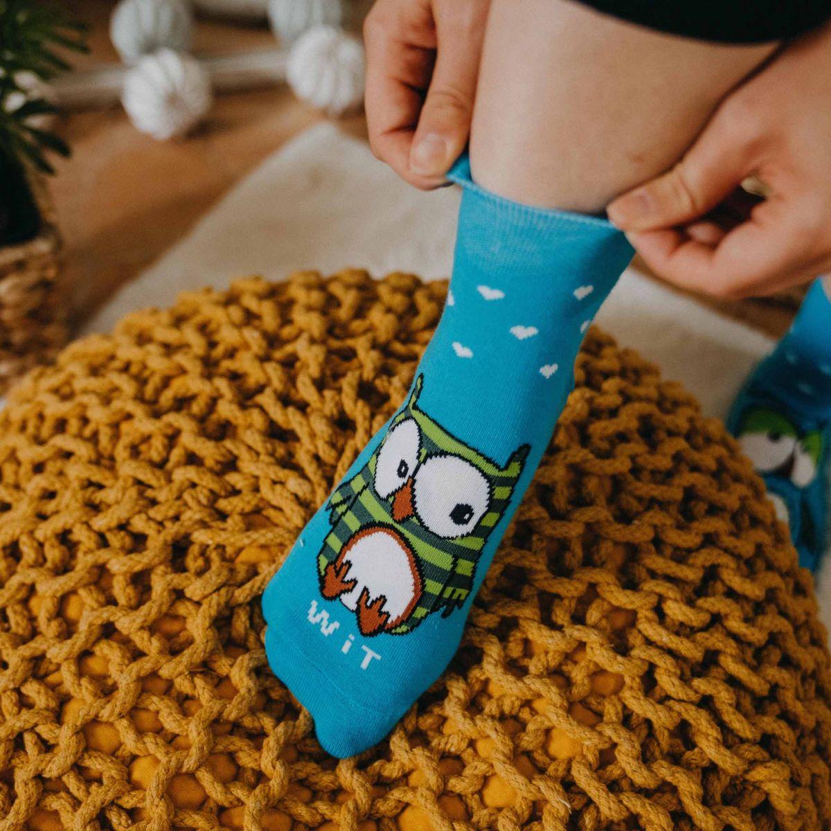 Ponožky - Sova tyrkysová p2