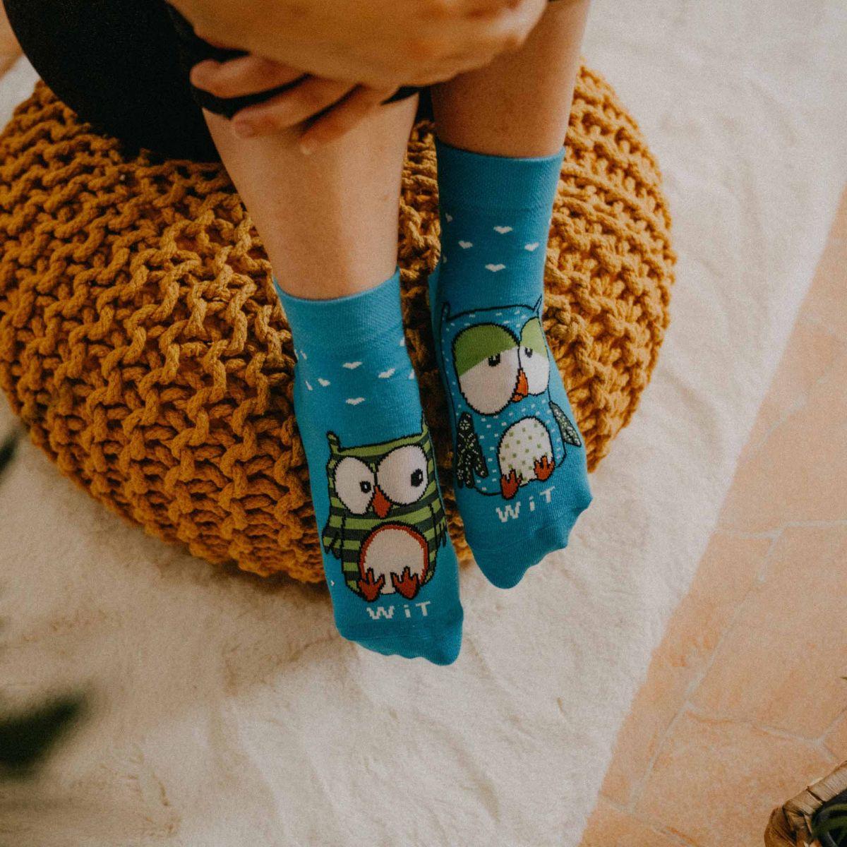 Ponožky - Sova tyrkysová p3