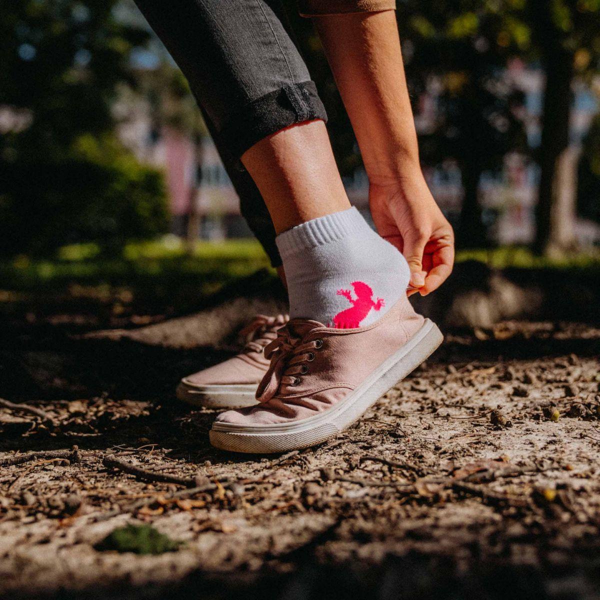 Ponožky - Ještěrka bílé p3