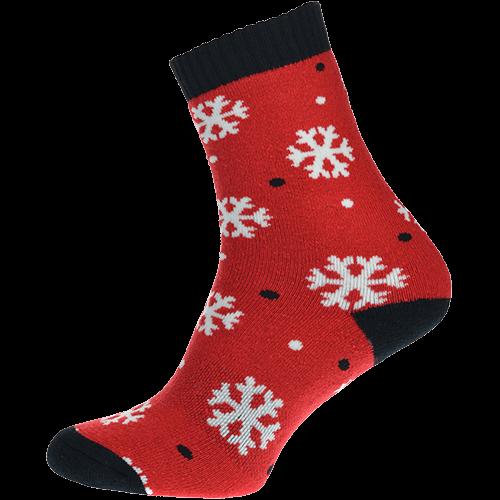 Skarpetki termiczne - Płatki śniegu - czerwone