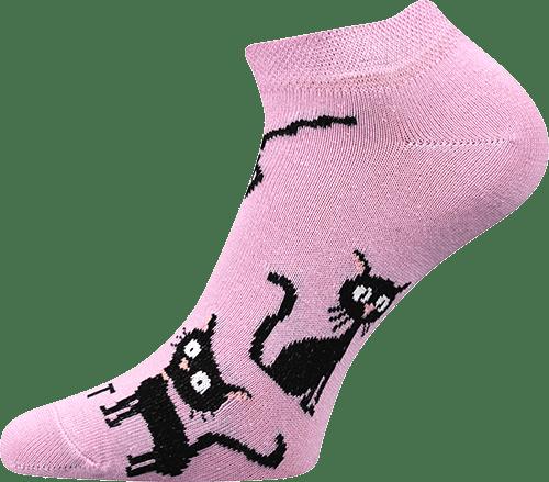 Ponožky - Kočka světle růžové nízké