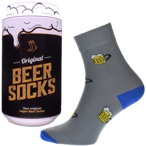 Ponožky - Pivo 2 v darčekovej pivnej plechovke