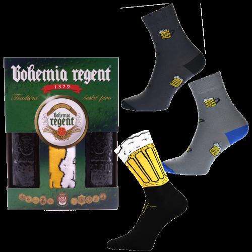 Dárkový set - 2 Piva Bohemia Regent + 3x ponožky Pivo