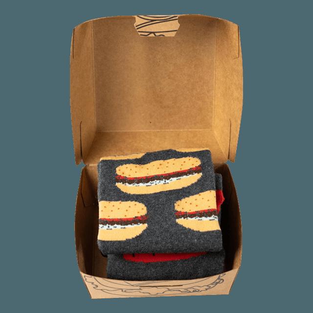 Ponožky - Hamburger + hranolky - 2 páry v darčekovej krabičke