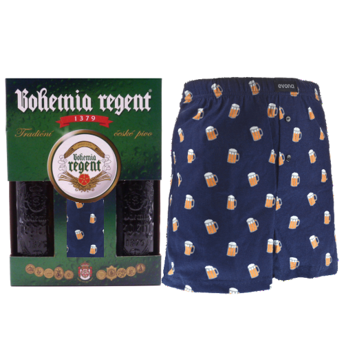 Dárkový set - 2 Piva Bohemia Regent + trenýrky Pivo tm.modré