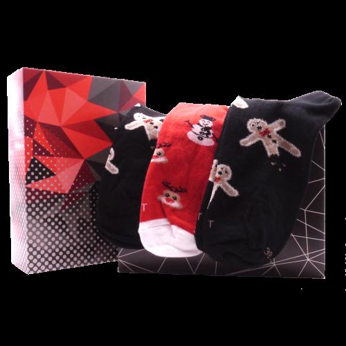 Darčekový set - 3 páry ponožiek Vianoce mix