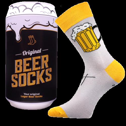 Ponožky - Pivo 1 v darčekovej pivnej plechovke