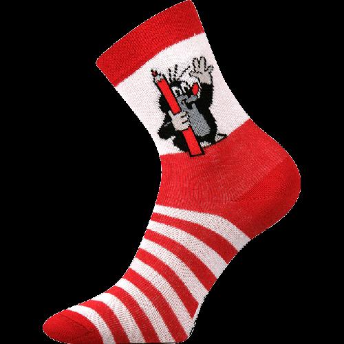 Ponožky - krteček červená