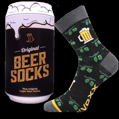 Ponožky - Pivo Chmel v dárkové pivní plechovce