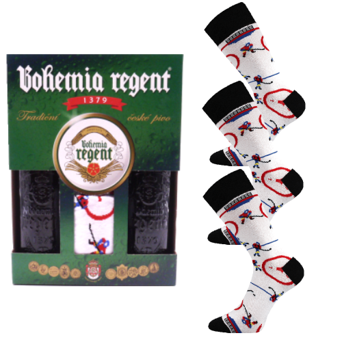 Dárkový set - 2 Piva Bohemia Regent + 3x Ponožky Hokej