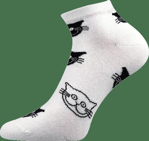 Ponožky - Kočka bílé nízké