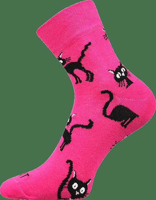 Ponožky - Kočka magenta main