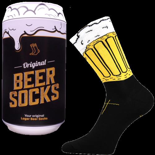 Ponožky - Pivo 3 v darčekovej pivnej plechovke