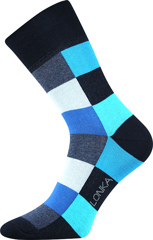 Ponožky - Crazy - Kostky - modrá - velikost 43-46