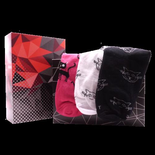 Dárkový set - 3 páry ponožek Kočka