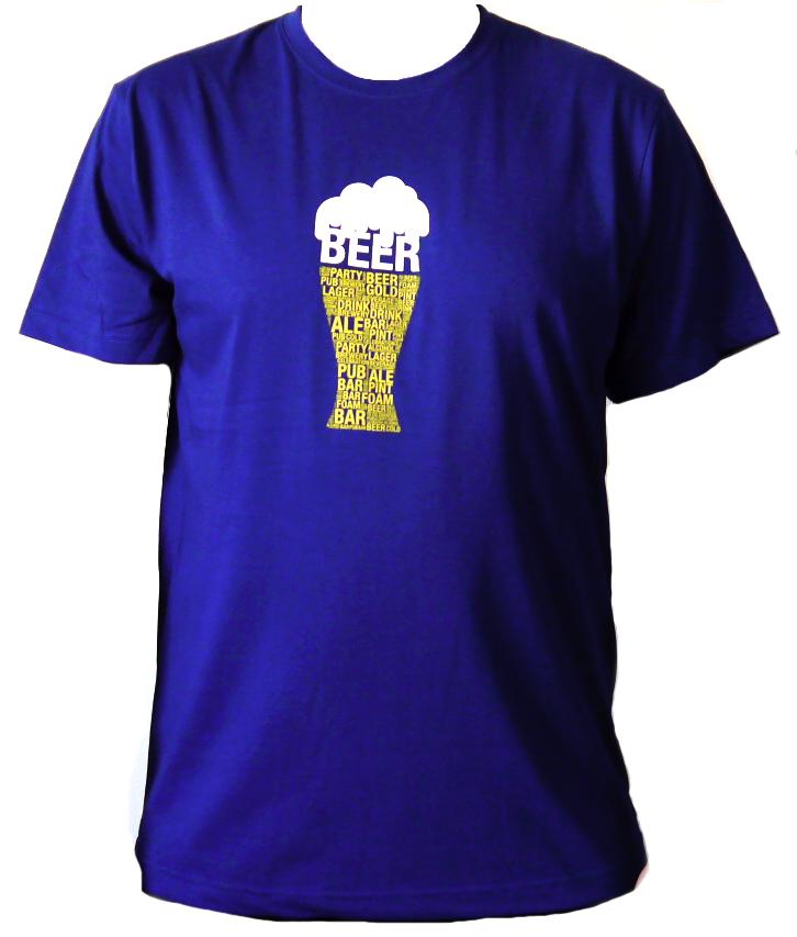 Tričko - Pivo - modré - velikost L