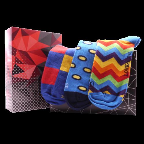 Darčekový set - 3 páry farebných ponožiek