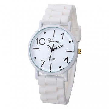 Silikonové hodinky Geneva Jelly bílé