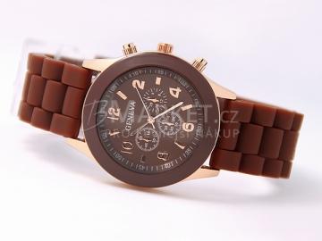 Silikonové hodinky Geneva hnědé