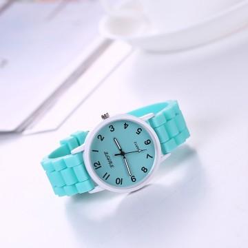 Silikonové hodinky Geneva Quote mátově zelené