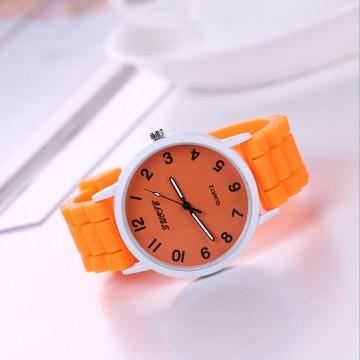 Silikonové hodinky Geneva Quote oranžové