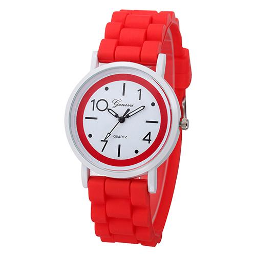 Silikonové hodinky Geneva Jelly červené