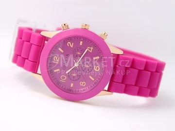 Silikonové hodinky Geneva tmavě růžové