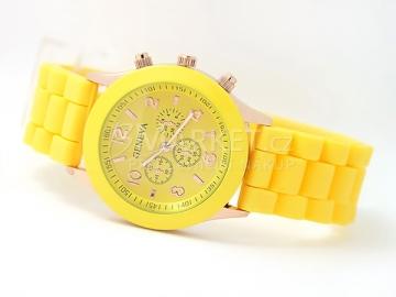 Silikonové hodinky Geneva žluté