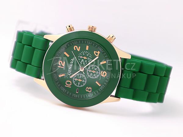 Silikonové hodinky Geneva tmavě zelené