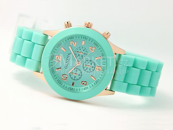Silikonové hodinky Geneva mátově zelené