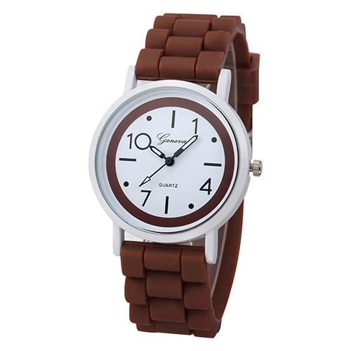 Silikonové hodinky Geneva Jelly hnědé