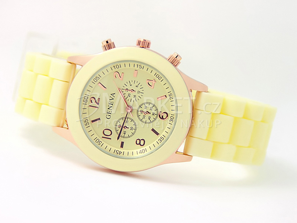Silikonové hodinky Geneva béžové