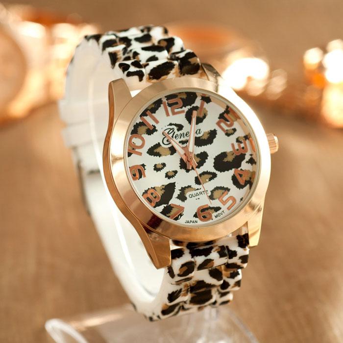 Silikonové hodinky Geneva Leopard bílé