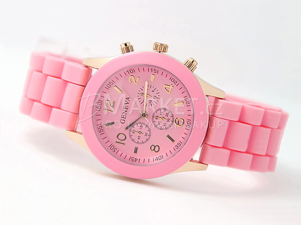 Silikonové hodinky Geneva růžové