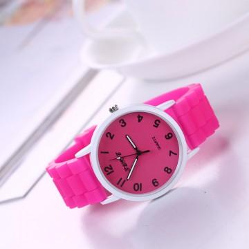 Silikonové hodinky Geneva Quote tmavě růžové