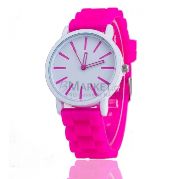 Silikonové hodinky tmavě růžové