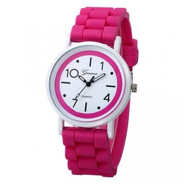 Silikonové hodinky Geneva Jelly tmavě růžové