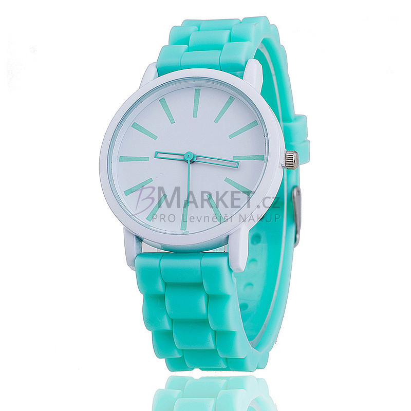 Silikonové hodinky mátově zelené
