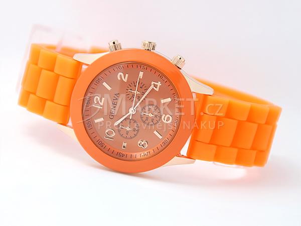 Silikonové hodinky Geneva oranžové